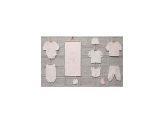 Set 10 piese cadou nou-nascut roz cu iepurasi